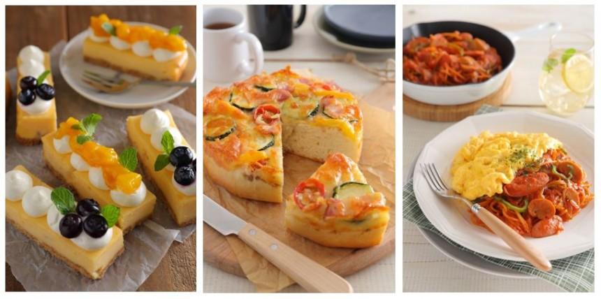 (左)サマーチーズケーキ (中)たっぷり野菜のピッツァ (右)ワンポットオムナポリタン