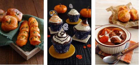 (左)かぼちゃのシュガーナッツブレッド (中)Hallweenカップケーキ (右)Quickビーフシチュー&チーズパン